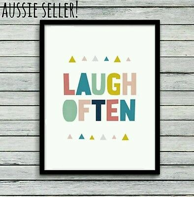 Laugh Often canvas A4 painting print art poster nursery kids baby home colourful
