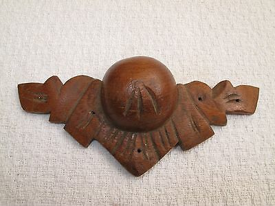 Antique Ornate Victorian Carved Wood Dresser Drawer Pull Handle 1800's
