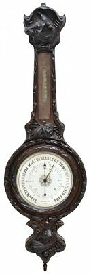 ANTIQUE FRENCH BLACK FOREST STYLE CARVED BAROMETER  19th Century ( 1800s )