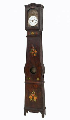 FRENCH POLYCHROME PAINTED TALL CASE CLOCK, 19TH C ( 1800s )
