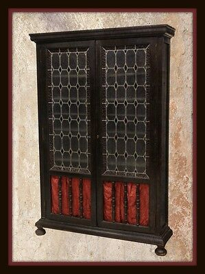 Spanish Baroque Leaded Glass Door Bookcase, Early 20Th C