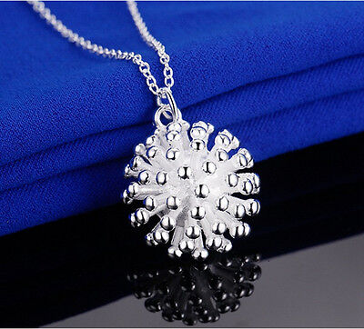 925 Sterling Silver Plating Women Fashion Jewelry Fireworks Pendant Necklace Hot
