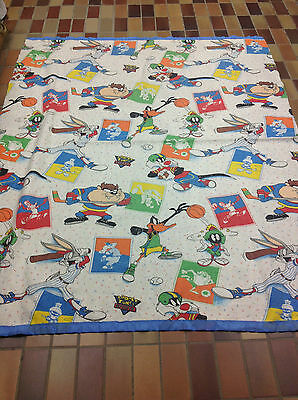 Vintage Warner Brothers LOONEY TUNES SPORTS BLANKET Twin BUGS BUNNY TAZ MARTIAN