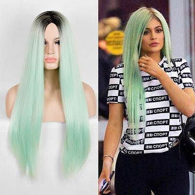 sale Kylie Jenner Styling Long Straight Wig Central Parting Light GREE Drag Wig