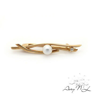 Vintage 14K Rose Gold Brooch with Pearl and Small Diamond