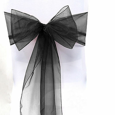 100 Organza Sashes Chair Cover Bow Sash WIDER FULLER BOWS Wedding Party Black