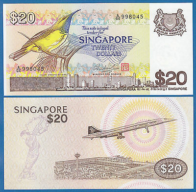 SINGAPORE 20 DOLLARS P12 1979 BIRD CONCORDE UNC MONEY BILL ASIAN ASIA BANK NOTE