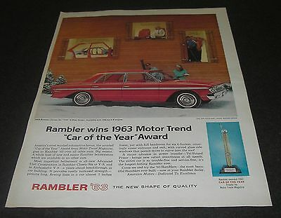 Print Ad 1963 AMC RAMBLER Classic Six 770 4-door Sedan Car of Year ART Ski Lodge