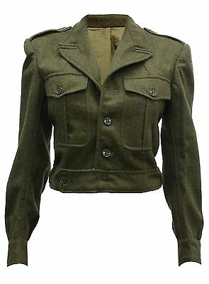Original Genuine French British Army Vintage Ww2 Military Wool Cropped Jacket