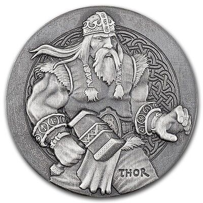2016 Viking Series Thor 2 oz .999 Silver Antiqued Finish High Relief USA Coin