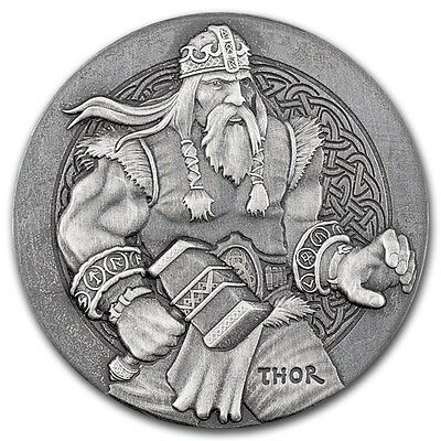 2016 Viking Series | Thor | 2 oz .999 Silver Round US Made Antiqued Finish Coin