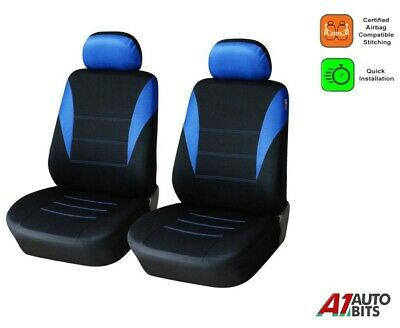 Blue-Black Fabric Front Seat Covers For Vauxhall Vivaro Sportive 01-14