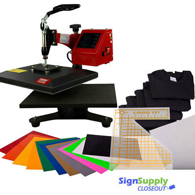 "9"" x 12"" Swing Arm Heat Press, EasyWeed Vinyl, Logo-It Tool, T-Shirts & Non-Stic"