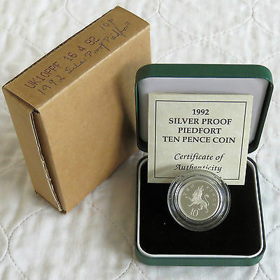 1992 SILVER PROOF PIEDFORT 10 PENCE  - boxed/coa/outer