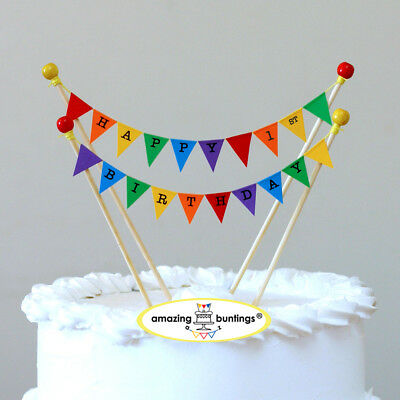 Happy 1st First Birthday Cake TopperRainbow Bunting DecorationHand Made In UK