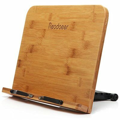 Readaeer BamBoo Reading Rest Cook Book Document Stand Holder Bookrest New