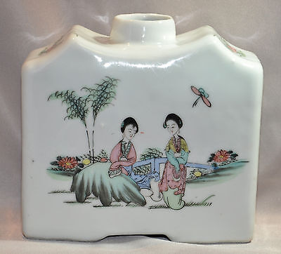 Vintage Chinese Famille Rose Porcelain Tea Caddy Signed