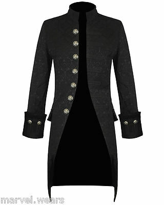 Handmade Mens Jacket Black Brocade Gothic Steampunk Victorian Frock Coat