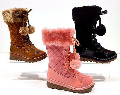 Girls Toddlers Winter High Side Zip warm Pom Pom Boots Shoes Size 8 to Childs 2