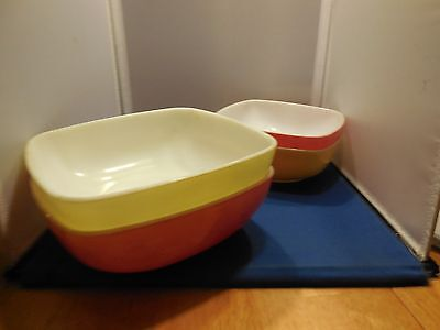 Great Lot of 4 Vintage Pyrex Square Serving Bowls - 2 Sizes