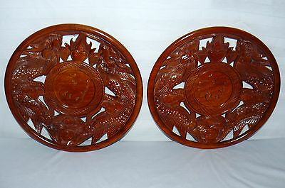 Asian Dragon Theme Wooden Hand Carved Plates Wall Plaques Round Set Of 2 Wood