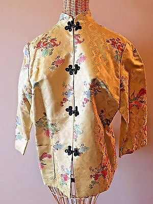 Vintage Gold Dragon Peacock Brocade Mandarin Frog Asian 3/4 Sleeve Jacket S CH