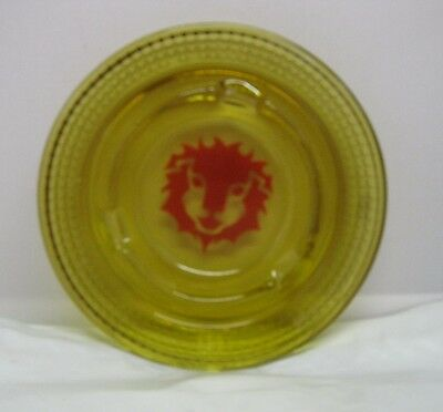 "Rare Vintage MGM Casino Las Vegas Old Lion 5"" Round Yellow Amber Glass Ashtray"