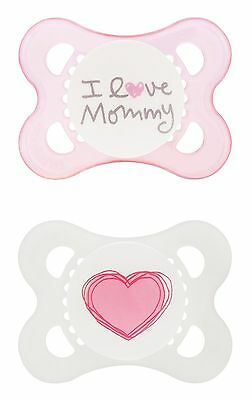 MAM Silicone Love and Affection Pacifier I Love Mommy Girl 0-... , Free Shipping