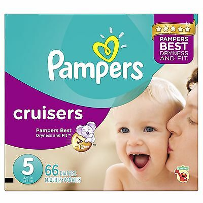 Pampers Cruisers Diapers Size-5 Super Pack 66-Count- Packagin... , Free Shipping