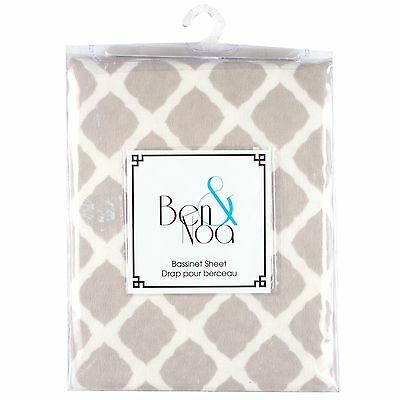 Kushies Baby Flannel Fitted Bassinet Sheet Grey Lattice , Free Shipping