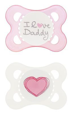 MAM Silicone Love and Affection Pacifier I Love Daddy Girl 0-... , Free Shipping