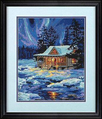 Dimensions Needlecrafts Needlepoint Winter Sky Cabin , Free Shipping