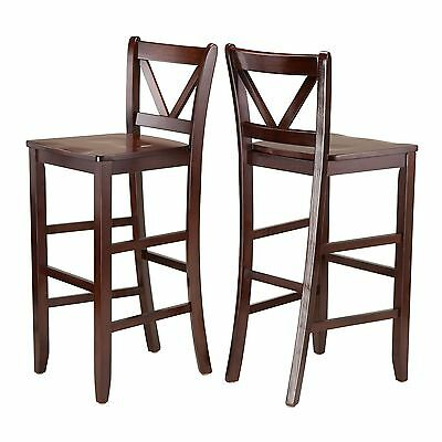 Winsome Wood Victor 2-Piece V-Back Bar Stools 29-Inch Brown , Free Shipping