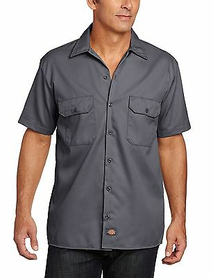 Dickies Men's Short Sleeve Work Shirt Charcoal X-Large , Free Shipping