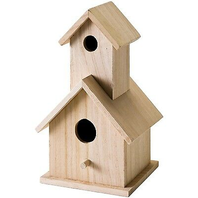 Plaid Wood Surface Crafting Birdhouse 12741 Story , Free Shipping