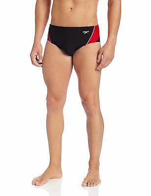 Speedo Men's Endurance+ Launch Splice Brief Swimsuit Black/Re... , Free Shipping