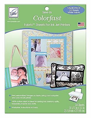 June Tailor Colorfast Sew-In Inkjet Fabric Sheets White 10-Pack , Free Shipping