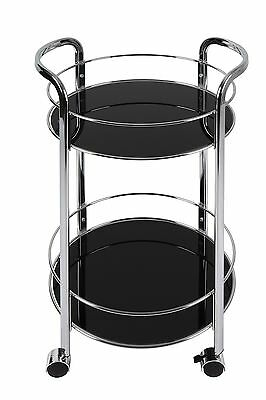 Dar Bar Cart Round in Black Bar Furniture , Free Shipping