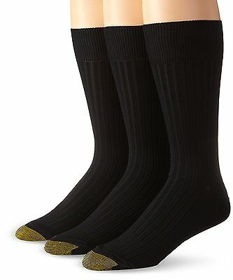Gold Toe Men's Classic Canterbury Crew Socks (Pack of 3) Black , Free Shipping