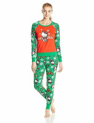 Hello Kitty Women's Ugly Holiday Pajama Set Green X-Large , Free Shipping