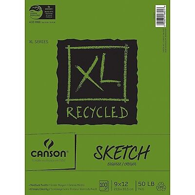 Pro-Art 9-Inch by 12-Inch Canson Recycled Sketch Pad 100-Sheet , Free Shipping