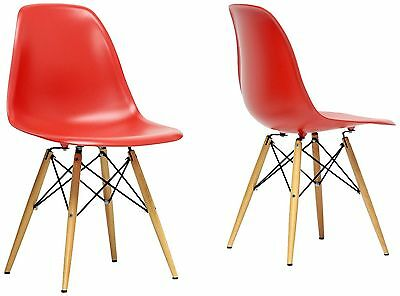 Baxton Studio Set of 2 Azzo Mid-Century Modern Shell Chairs Red , Free Shipping