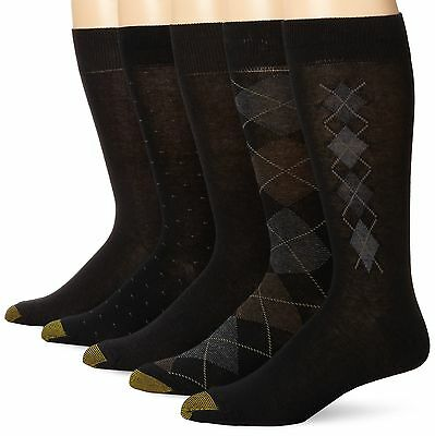 Gold Toe Men's Argyle Assorted Crew 5 Pack Black/Charcoal 10 ... , Free Shipping
