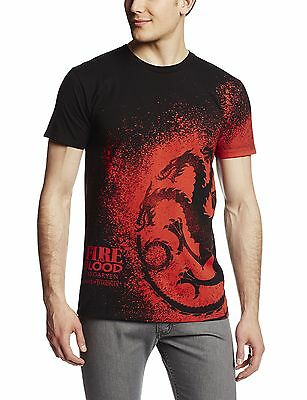 HBO'S Game of Thrones Men's Fire and Blood Splatter T-Shirt B... , Free Shipping