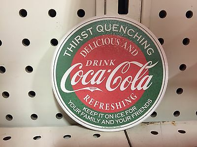 Coca Cola Round Stone Cork Back Coaster Set Of 4 New In Box 2009 Keep It On Ice
