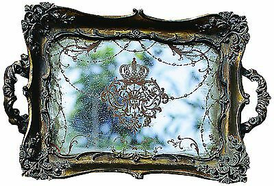 Creative Co-Op Antique Gold Resin Mirrored Tray , Free Shipping