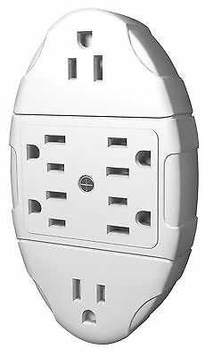 STANLEY 38110 6-Way Transformer Tap with Grounded 6-Outlet Wall Adapter New