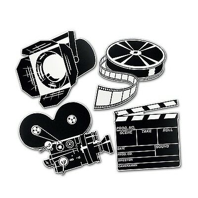 Beistle 55722 4-Pack Packaged Movie Set Cutouts 16-Inch New