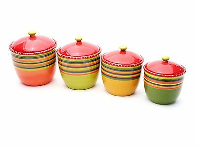 Certified International Hot Tamale 4-Piece Canister Set New