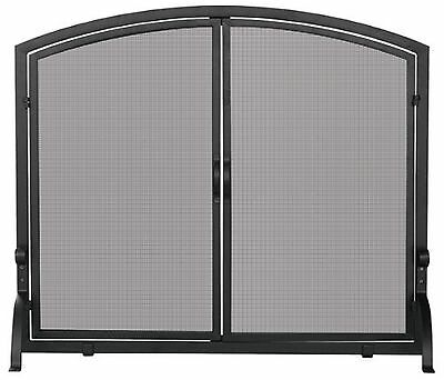 Uniflame S-1064 Large Single Panel Black Wrought Iron Screen with Doors New